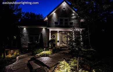 house with simple outdoor lighting