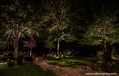 garden and lighted terracing