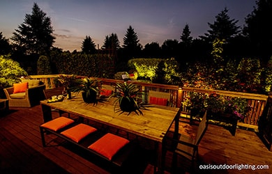 outdoor dining table with lighting