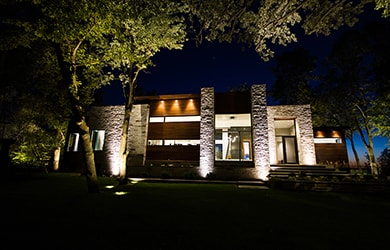 house with architectural lighting