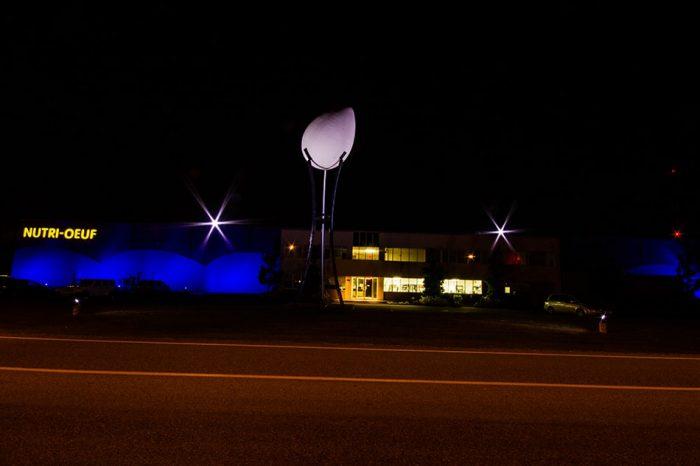 éclairage bleu sur entreprise Nutri-oeuf