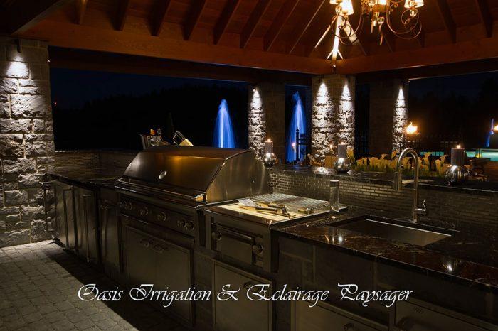 éclairage cuisine extérieur outdoor living