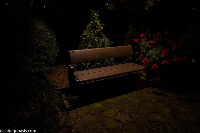 banc de parc jardin éclairage
