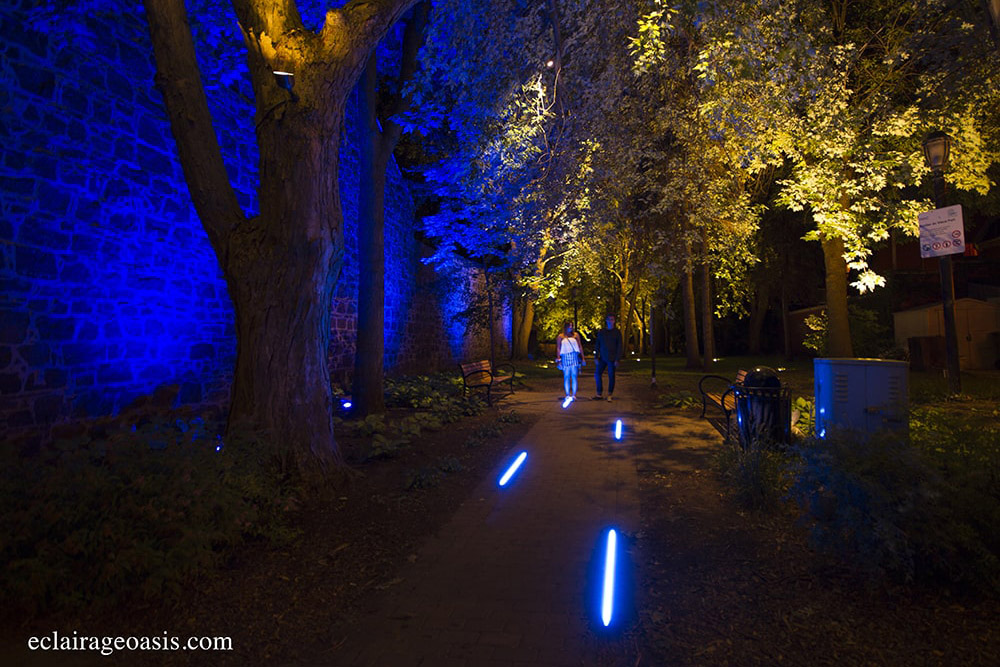 LED bars in a path in the heart of the historic district