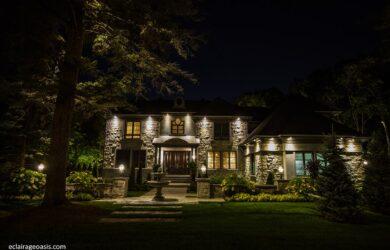 Éclairage maison extérieur paysager