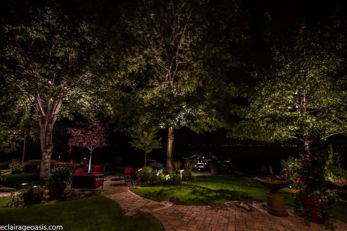 terrassement avec éclairage extérieur