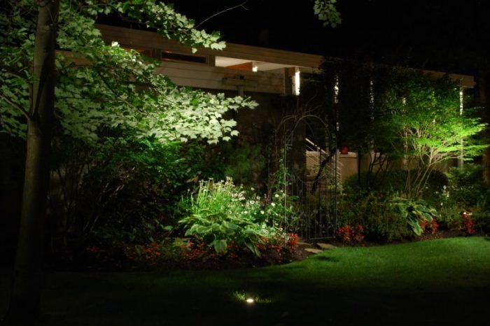 éclairage jardin et fleurs cours avant